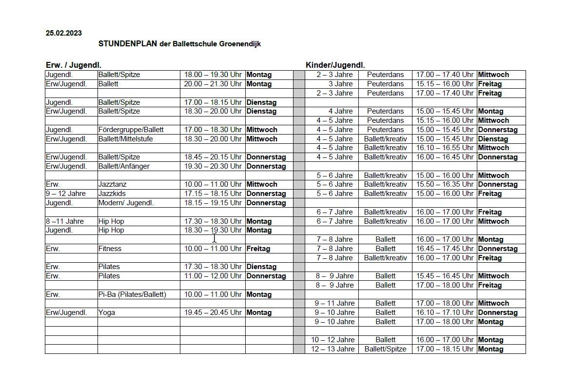 Ballettschule Groenendyk - Stundenplan